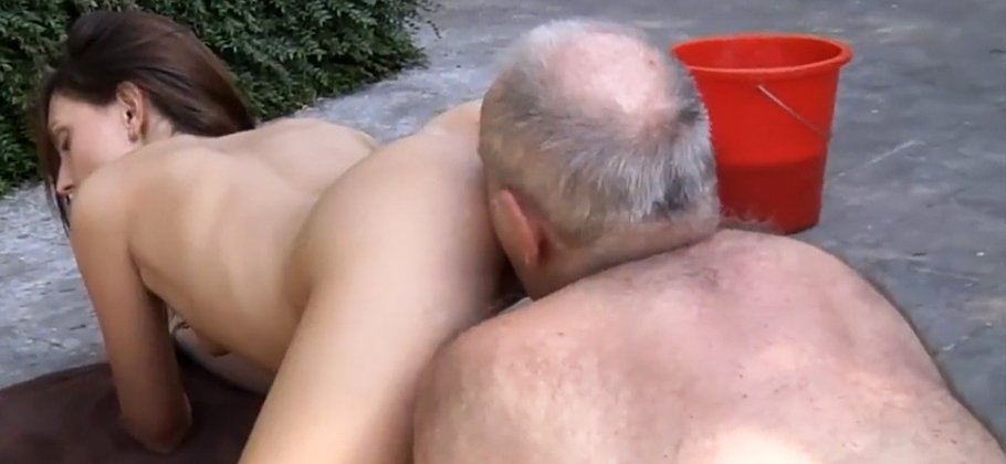 Horny grandpa fucks young pussy so tight and wet ready for cum